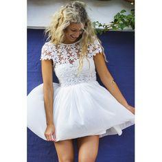 Floral kortærmet kjole - Hvid