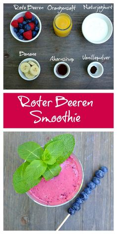 Ein herrlich erfrischender und sättigender Smoothie aus roten Beeren, Orangensaft, Banane und Joghurt. Perfekt als Frühstück oder Zwischenmahlzeit.