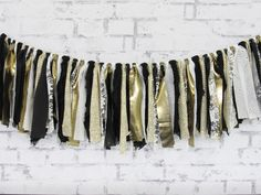 New Year's Wedding Decor - Black White Gold Decor - Graduation Party - Gold Fabric Garland - Black and White Rag Tie by LucyBirdy on Etsy https://www.etsy.com/listing/257395946/new-years-wedding-decor-black-white-gold