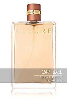 Cauti un parfum unic si senzual ce iti va incanta toate simturile si te va face sa te mai increzatoare in imagine ta? Atunci nu vei regreta daca vei incerca parfumul de lux, Allure de la celebrul brand francez Chanel. Senzualitatea, originalitatea si delicatetea sunt principalele ingrediente a apei de toaleta Chanell Allure ce iti va oferi o experienta de neuitat. Delecteaza-te cu un parfum unic si incantator de la faimosul brand Chanel! Perfume Bottles, Chanel, Shopping, Beauty, Perfume Bottle, Beauty Illustration