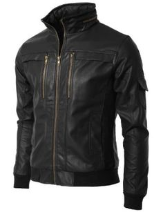 Doublju Mens Faux Leather Jacket with Slim Fit