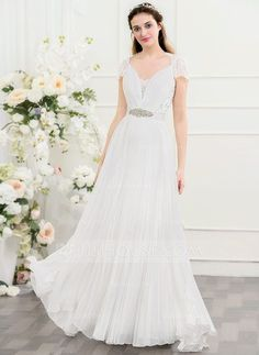 [US$ 164.49] A-Line/Princess V-neck Sweep Train Chiffon Wedding Dress With Beading Sequins Bow(s) Pleated