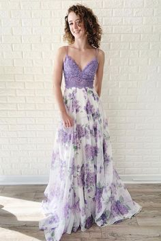 Charming v neck purple tulle lace long prom dress, sexy spaghetti straps purple lace evening dress Lilac Prom Dresses, Lilac Dress, Lace Evening Dresses, Cheap Prom Dresses, Pretty Dresses, Homecoming Dresses, Evening Gowns, Bridesmaid Dresses, Long Purple Dress