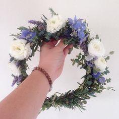Blue delphinium & lavender flower crown  www.thecrowncollective.co