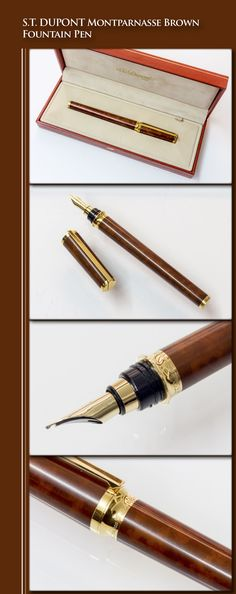 DUPONT Montparnasse Brown Fountain Pen (brass body coated in Chinese lacquer, gold-plated trim, gold nib) - / France How To Write Calligraphy, Couture, Writing Instruments, Fountain Pens, Losing Weight, 1990s, Evolution, Stationary, Plating