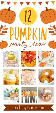 If you're thinking of planning a pumpkin-themed party you'll want to go through our roundup of gorgeous pumpkin party ideas for lots of inspirations and wonderful ideas! See more party ideas and share yours at CatchMyParty.com #catchmyparty #partyideas #pumpkin #pumpkinparty #pumpkin1stbirthdayparty #fall #fallparty Pumpkin 1st Birthdays, Pumpkin Birthday Parties, Boys 1st Birthday Party Ideas, Birthday Party Decorations, Girl Birthday, Pumpkin Cake Pops, Halloween Games For Kids, Baby In Pumpkin, Party Cakes
