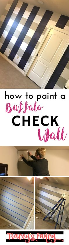 how to paint a buffalo check wall | Accent Wall Ideas | Plaid Wall | Painting Tips by Tracey's Fancy
