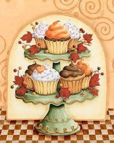 Cupcake Heaven by Karla Dornacher. Acrylic on canvas. Would have this in my kitchen if I could...