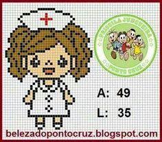 Ponto Cruz da Rê Mini Cross Stitch, Cross Stitch Cards, Cross Stitching, Plastic Canvas Crafts, Plastic Canvas Patterns, Hama Beads Patterns, Beading Patterns, Crochet Cross, Knitting Charts