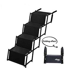 awesome Niubya Accordion Folding Dog Step Stairs, Lightweight Portable Rustproof Metal Frame 4 Pet Steps Ladder with Durable Waterproof Ballistic Nylon LIGHTWEIGHT AND DURABLE: Our foldable dog steps use a lightweight metal frame, although weighs only 10lbs, it can withstand the weight of a 100 lbs large dog. EASY TO SET UP AND STORE: Opens and Closes Like An Accordion, you can carry the dog... Elevated Dog Bed, Pet Ramp, Pet Stairs, Dog Steps, Dog Food Brands, Dog Supplies, Large Dogs, Ladder