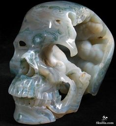 Skullis.com A Crystal Skull a Day: July 09, 2014: Nature Deva - Green Moss Agate Geode Carved Crystal Skull Sculpture