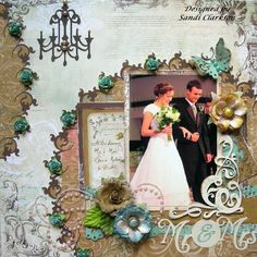 Shabby Wedding Page...with pretty design & paper chandelier... Scrapbook.com.