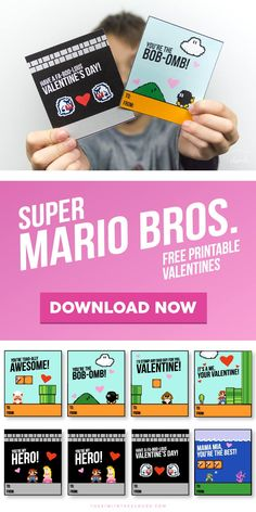 These Super Mario Valentines Printables Are Guarenteed To Be The Class Favorite My Funny Valentine, Free Valentine Cards, Valentines For Boys, Valentines Day Party, Valentine Day Crafts, Valentine Ideas, Printable Valentine, Homemade Valentines, Valentine Box