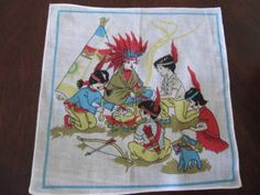 ADORABLE CHILDREN'S HANDKERCHIEF HANKY Indian Chief Brave Squaw Teepee PeacePipe