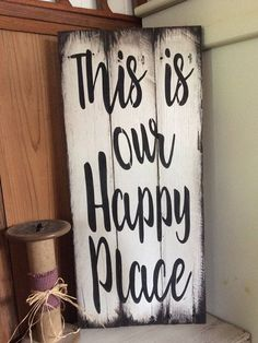 pallet wood sign This is our happy place sign 10 wide 22 tall Ready for hanging