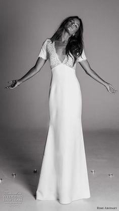 rime arodaky fall 2017 bridal short sleeves v neckline heavily embellished bodice elegant bohemian sheath wedding dress keyhole back sweep train (5) mv