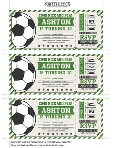 Awesome ideas for your next soccer-themed birthday party. Soccer Birthday Parties, Birthday Party Treats, 2nd Birthday Party Themes, Football Birthday, Soccer Party, Sports Party, Dad Birthday, Ticket Invitation, Birthday Invitations
