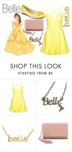 """""""Belle~ DisneyBound"""" by basic-disney ❤ liked on Polyvore featuring Topshop, Disney, Jennifer Meyer Jewelry and Anne Klein"""