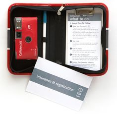 Collision Kit: contains everything you need in case of an accident like: 1) camera to document damage 2) pen 3) Pre-formatted forms for important information from all parties, including the police. 4) clipboard 5) envelope for registration and insurance