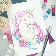 No photo description available. Unicorn Painting, Unicorn Drawing, Unicorn Art, Cute Illustration, Watercolor Illustration, Watercolor Art, Unicornios Wallpaper, Disney Princess Drawings, Unicorn Pictures