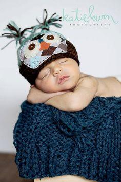 Baby Owl Hat - Photography Prop - Newborn Boy - Preppy