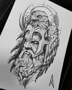 Witch one do you like? Comment below. Warrior Tattoos, Badass Tattoos, Body Art Tattoos, Sketch Tattoo Design, Tattoo Sleeve Designs, Sleeve Tattoos, Zeus Tattoo, Norse Tattoo, Poseidon Tattoo