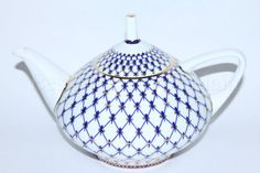 Russian Imperial Lomonosov Porcelain Teapot Cobalt Net 22k Gold - Russian Bone China - Blue, White and Gold China Teapot