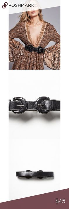Free People Diablo Double Buckle Belt New! Made from soft genuine leather this waist belt features double covered leather buckles with contrast heavy thread stitching. American made. Leather. Sold out! Bundle to save. Free People Accessories Belts
