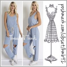 Serenity Blue Slash Knee Jumpsuit One of the top 10 colors for Spring 2016. Cool calming serenity blue casual slash knee jumpsuit. The perfect comfortable, relaxing running weekend errands or Mommy on the go jumpsuit. Super soft luxurious poly/cotton and rayon fabric. Drawstring waistline for a precise fit. Don't miss out on this ultimate casual stylish comfort. Size S, M, L                                                Pastel Threads & Trends Pants Jumpsuits & Rompers