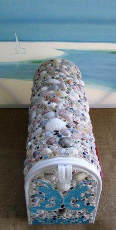 Seashell Post Mount Mailbox-Coastal by CeShoreTreasures on Etsy