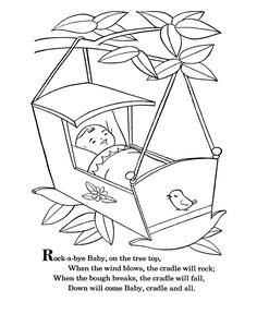 bluebonkers nursery rhymes coloring page sheets rock a bye baby mother goose