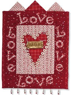 """XOXOX"" by Cheryl Lynch.  Embellished mini quilt."