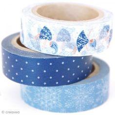 Washi tape Winter wonderland - Copos de nieve 15 mm x 10 m - 3 rollos - Fotografía n°1