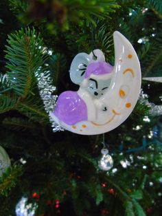 Mouse Christmas Moon sleep Ceramic Tree ornament  Have a look at my other vintage ornament , hope you like them !