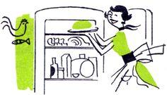 Woman & Fridge clip art from retro cookbook.