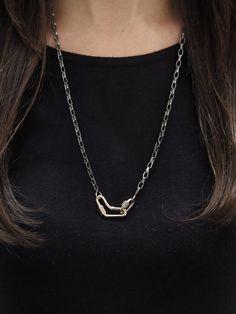 Biker Chain Necklace - Blackened Sterling Silver - b