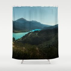 ISLAND STORIES XIV Shower Curtain. mountain, nature, photography, landscape, wanderlust, photo, art print, forest, island, beach, river, water, blue, green, sky, sunlight, path, road, dark, mystery, explore, island stories, story, tapestry, duvet cover, bedroom, interior design