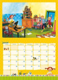 Pippi Langstrumpf 2014 | Dumont Kalenderverlag: Kalender Shop - Unsere Kalender Pippi Longstocking, Kindergarten, Calendar, Illustration, Party, Books, Collection, Monthly Pictures, Astrid Lindgren