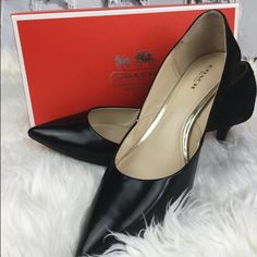 """SALE Coach Black """"Chambers"""" Pumps Amazing Coach """"Chambers"""" Pumps  Black Leather in front of shoe and suede in back with gold coach emblem on heel Low 2"""" Heels Great Condition. Coach Shoes Heels"""