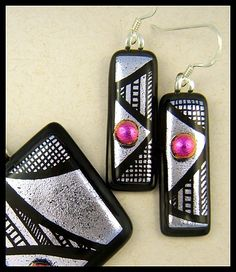 Original dichroic glass pendant and earrings *Hand Engraved* SRA | silvermoonlyn - Jewelry on ArtFire