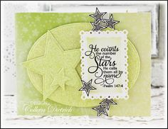 Dietrich Designs - He counts the stars. Monochromatic mint/yellow card using American Crafts glitter paper, and a Psalm sentiment from Verve's Shining Star. Psalm 147, Birthday Star, Star Cards, Shining Star, Button Flowers, American Crafts, Vintage Buttons, Clear Stamps, Greeting Cards Handmade
