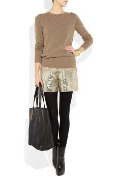 Casual, yet so luxe with the Lanvin gold lame' shorts.
