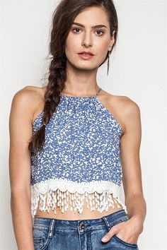 Gypsianna Fringe Crop Top - White + Blue