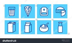 Milk products icon set - milk glass, cheese, sour cream, kefir bottle and other milk packaging - vector collection milk Milk Packaging, Milk Products, Search Icon, Kefir, Milk Glass, Business Flyer, Icon Set, New Pictures, Royalty Free Photos