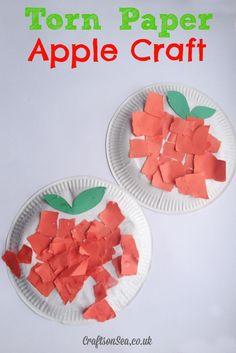 Torn Paper Apple Craft - Crafts on Sea