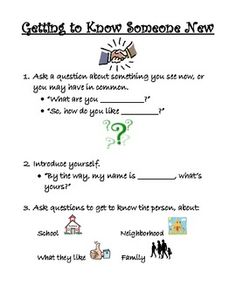 """Social Skills Lesson """"Getting to Know Someone New"""" Repinned by SOS Inc. Resources pinterest.com/sostherapy/."""