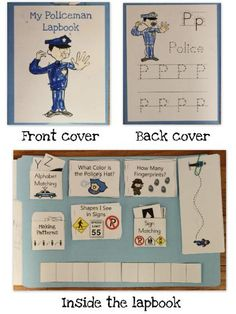 Police lapbook and lesson ideas. Get a folder and cut and paste different items that have to do with policemen. (You could also do this with any community helpers; firemen, teachers, doctors etc. Police Officer Crafts, Police Crafts, Kindergarten Social Studies, Kindergarten Themes, Homeschool Kindergarten, Community Workers, School Community, Police Activities, Preschool Activities