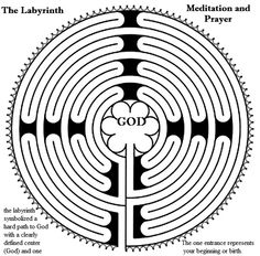The labyrinth symbolizes your life path and walking the labyrinth in prayer or meditation is connecting with God the ONE