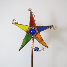 Stained glass yard art copper stake mixed media garden decor primary colors magic wand