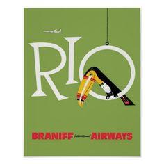 Toucan, oiseau, Rio, voyage, poster vintage